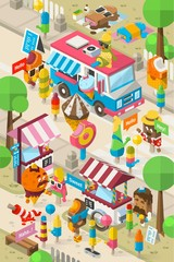 isometric ice cream background, colourful vector street