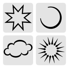 Star, moon, cloud and sun symbols, icons