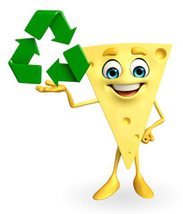 Cheese Character with recycle icon