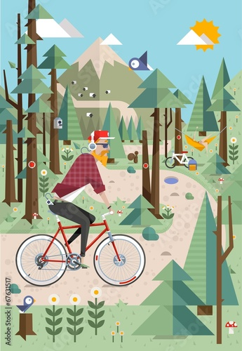 Mountain background vector illustration with hipster on bike - 67631517