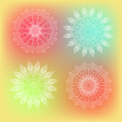 vector delicate lace round floral mandala pattern