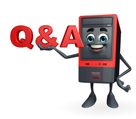 Computer Cabinet Character with Q & A sign