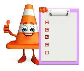 Construction Cone Character with notepad