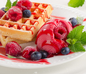 Belgian waffles with raspberries sorbet.