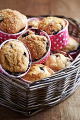 Blueberry Muffins with Brown Sugar in a Basket