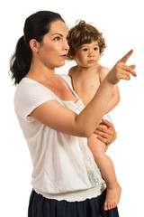Mother pointing away to her toddler