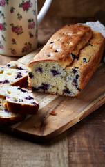 Simple Blueberry Cake on a Kitchen Board
