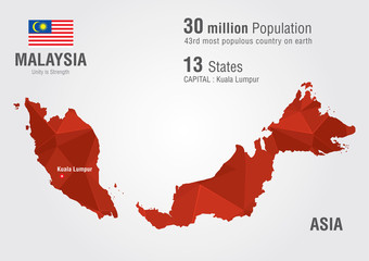 Malaysia world map with a pixel diamond texture.