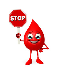 Blood Drop Character with stop sign
