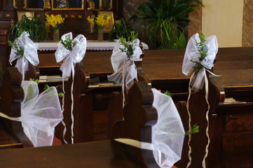 wedding decoration in a church