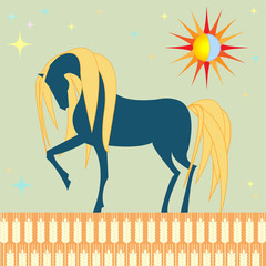horse in a wheat field