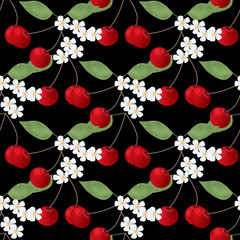 Seamless pattern with cherry anf flowers on black