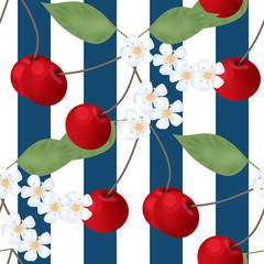 Cherry seamless pattern and flowers striped