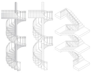Vector illustration of three staircases