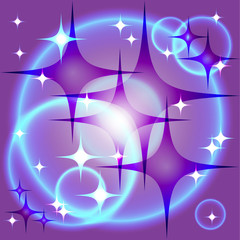abstract purple stars and the blue circles in open space