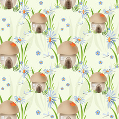 Mushroom house kids seamless pattern