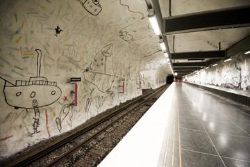 Hallonbergen metro station on the blue line, Stockholm (Sweden)