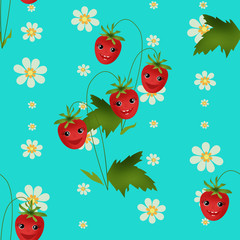Cute seamless kids pattern with strawberry cartoon characters on
