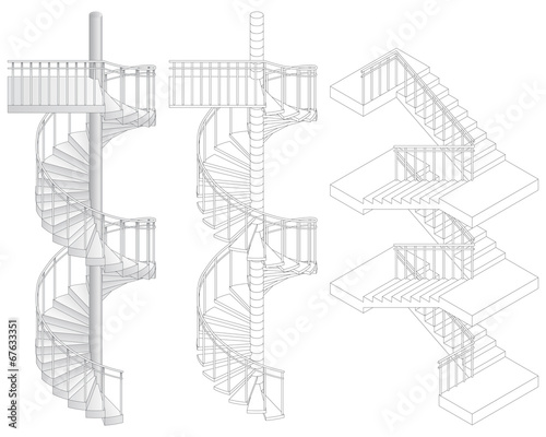 Vector illustration of three staircases - 67633351