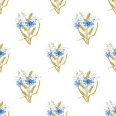 Meadow flowers seamless pattern on white