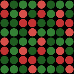 Abstract simple green red circles seamless pattern on black