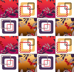 Abstract floral ornament seamless pattern with rowanberry