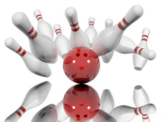 Ball crashing into the bowling pins