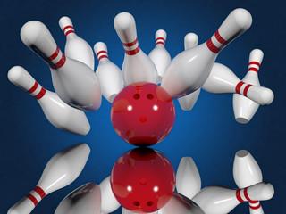 Ball crashing into the bowling pins