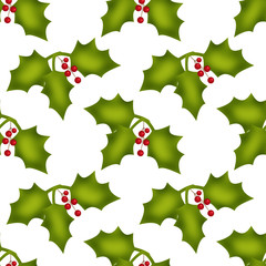 Christmas seamless pattern with holly berries on white