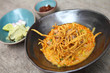 Noodle Khao soi , Thai food on wood background