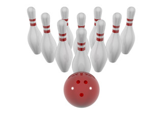 Bowling pins and ball on a white background