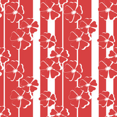 Seamless red floral pattern on striped