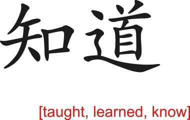 Chinese Sign for taught, learned, know
