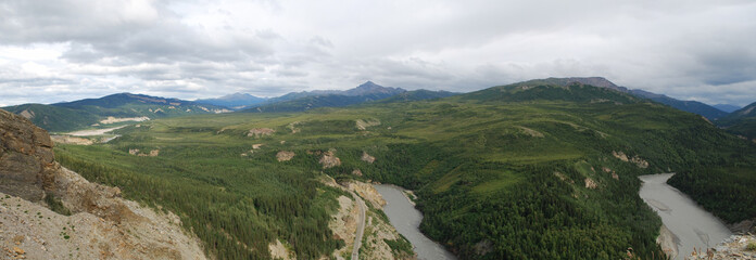 Alaska River and Mountain Landscape