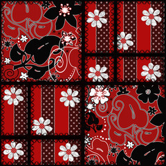 Patchwork seamless red pattern texture background