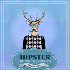 Hand Drawn Vector Illustration of fashion Hipster dear