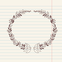 vector romantic sketch doodle illustration of wreath