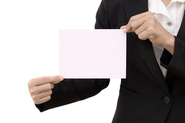 business woman holding a blank paper sheet