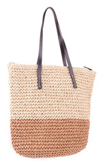 Summer wicker bag, isolated on white