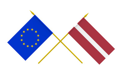 Flags, Latvia and European Union