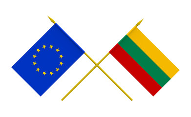 Flags, Lithuania and European Union