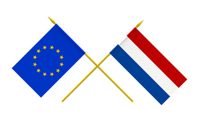 Flags, Netherlands and European Union