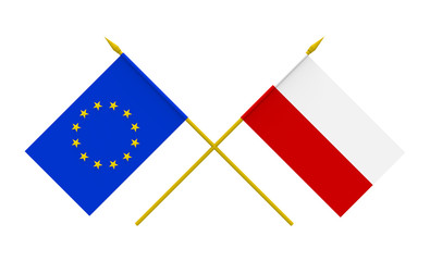 Flags, Poland and European Union