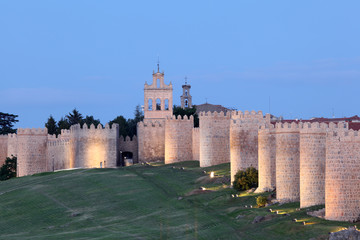 Medieval city walls of Avila. Castile and Leon, Spain
