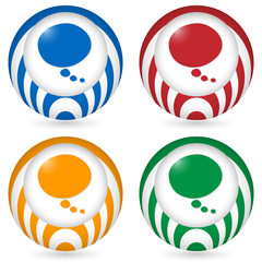 set of four icon with speech bubble