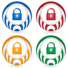 set of four icon with padlock