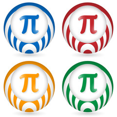 set of four icon with pi symbol