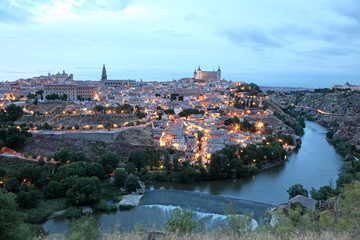Old town of Toledo at dusk. Castilla-La Mancha, Spain