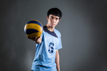 Asian volleyball athlete in action