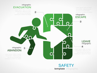 Safety concept infographic template with exit sign